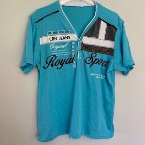 Royal Sport v neck 5 button t shirt size L